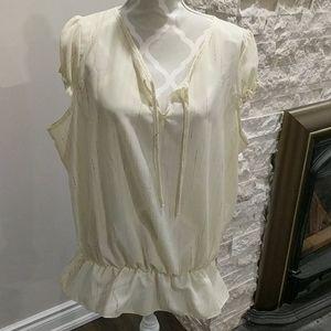 Marc Cain yellow sheer shortsleeve blouse